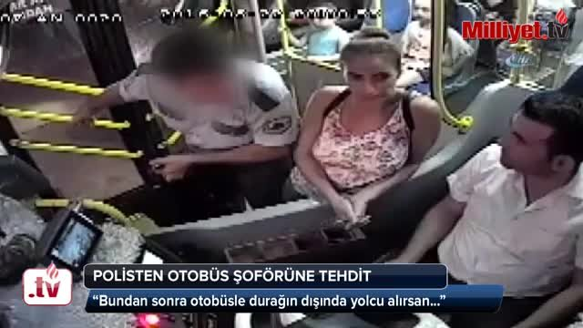 Polis, kendisini ışıkta indirmeyen otobüs şoförünü böyle tehdit etti